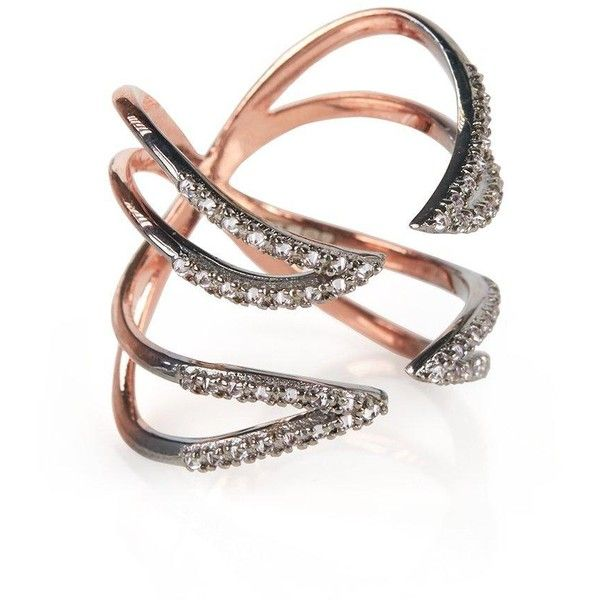 Katie Rowland Studded Twisted Cross Ring ($360) ❤ liked on Polyvore featuring jewelry, rings, rose gold, cross ring, studded jewelry, holiday jewelry, katie rowland and claw ring