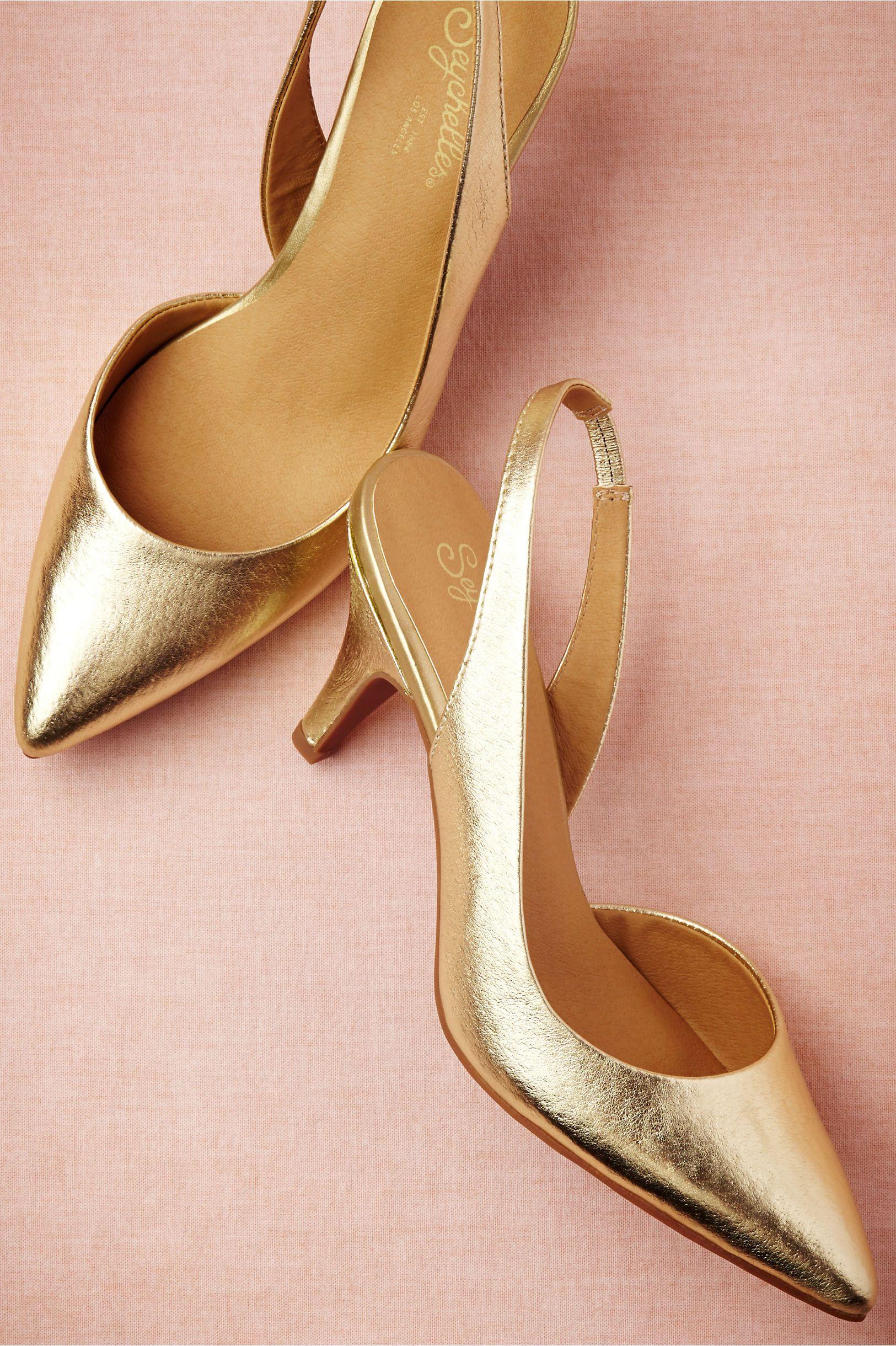 Golden Hour Sling Backs Bridal Shoes Gold Shoes Kitten Heel Shoes