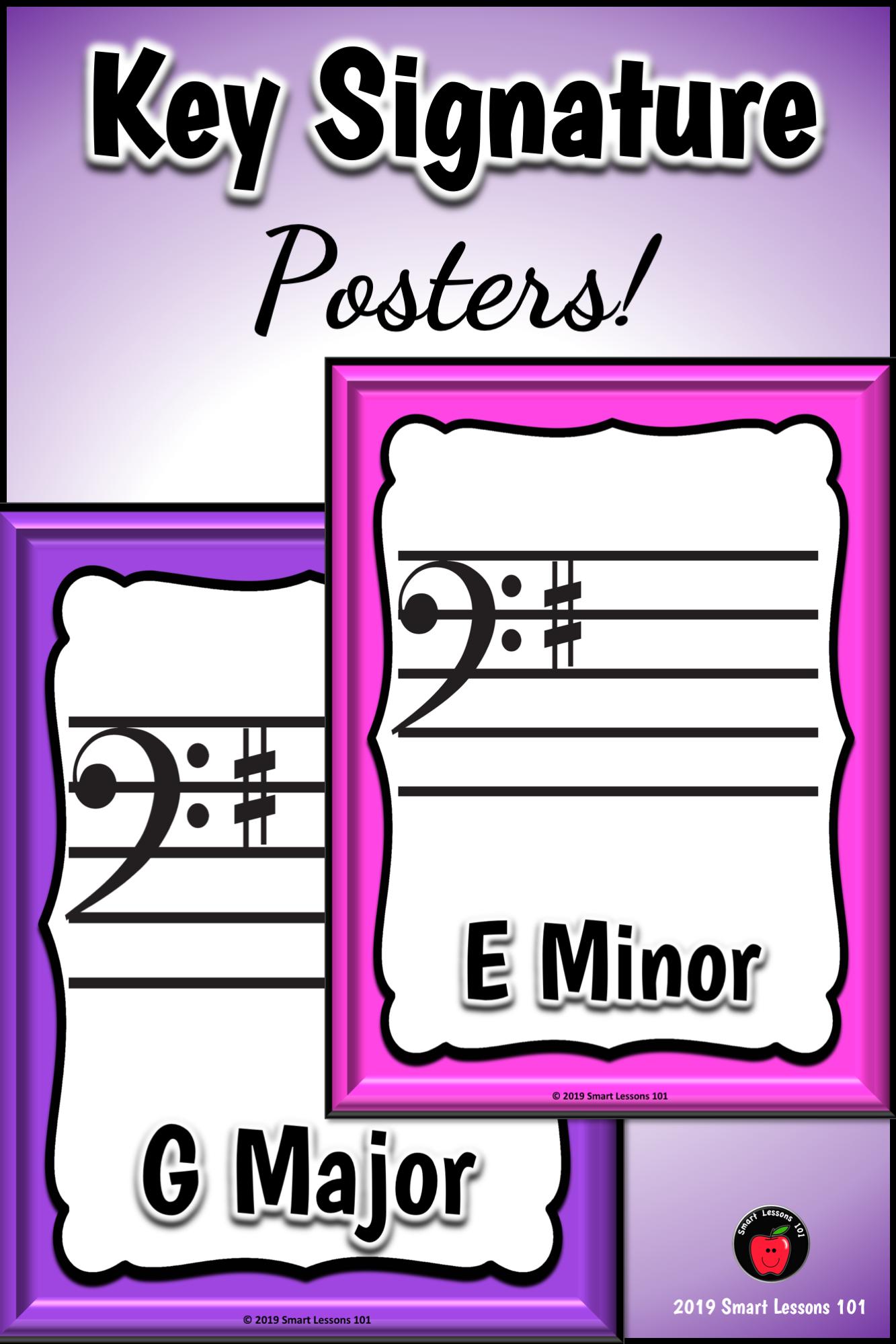 Key Signature Posters Classroom Decor Music Bulletin