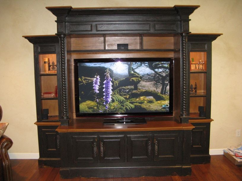Black Entertainment Center Wall Unit a beautiful handcrafted entertainment cabinet, caromal coloured