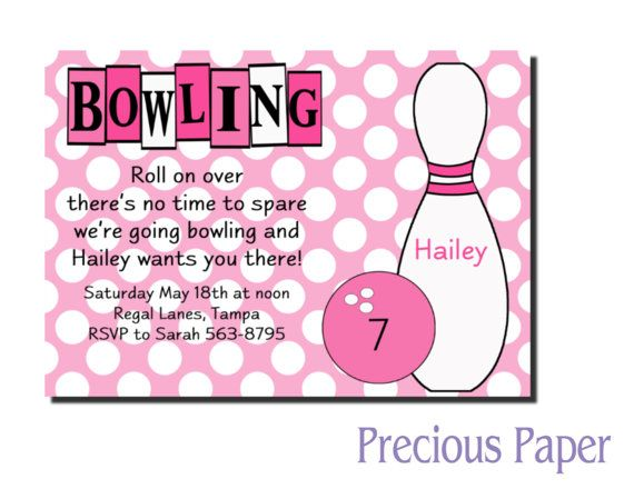 Digital Girls Bowling Birthday Invitations Pink Bowling Birthday