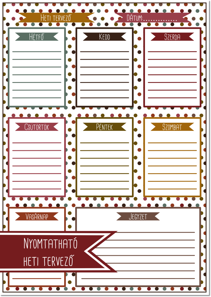Tervatonaptar lap magyarul | Filofax planners, Planner printables free, Planner organization