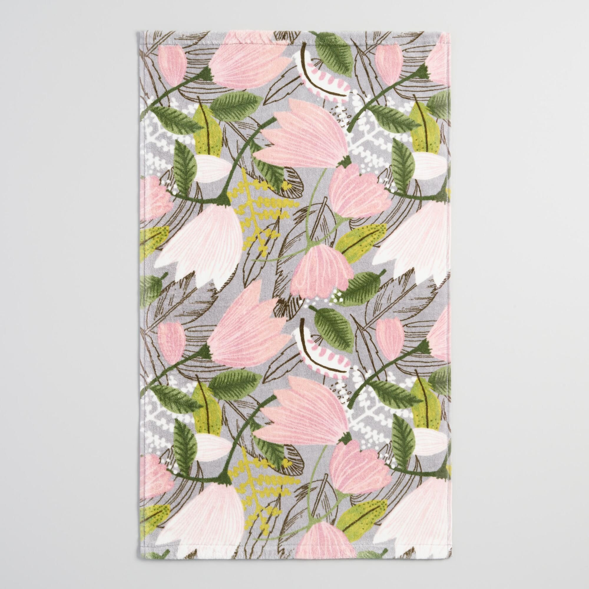 Gigi Floral Printed Velour Hand Towel Modern Floral Design Hand - Velour bath towels for small bathroom ideas