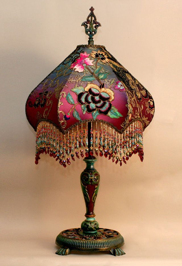 A Highly Detailed, Hand Painted Antique Lamp Base Holds A Hand Dyed Fuschia  Peony U0026 Butterfly Silk Lampshade.