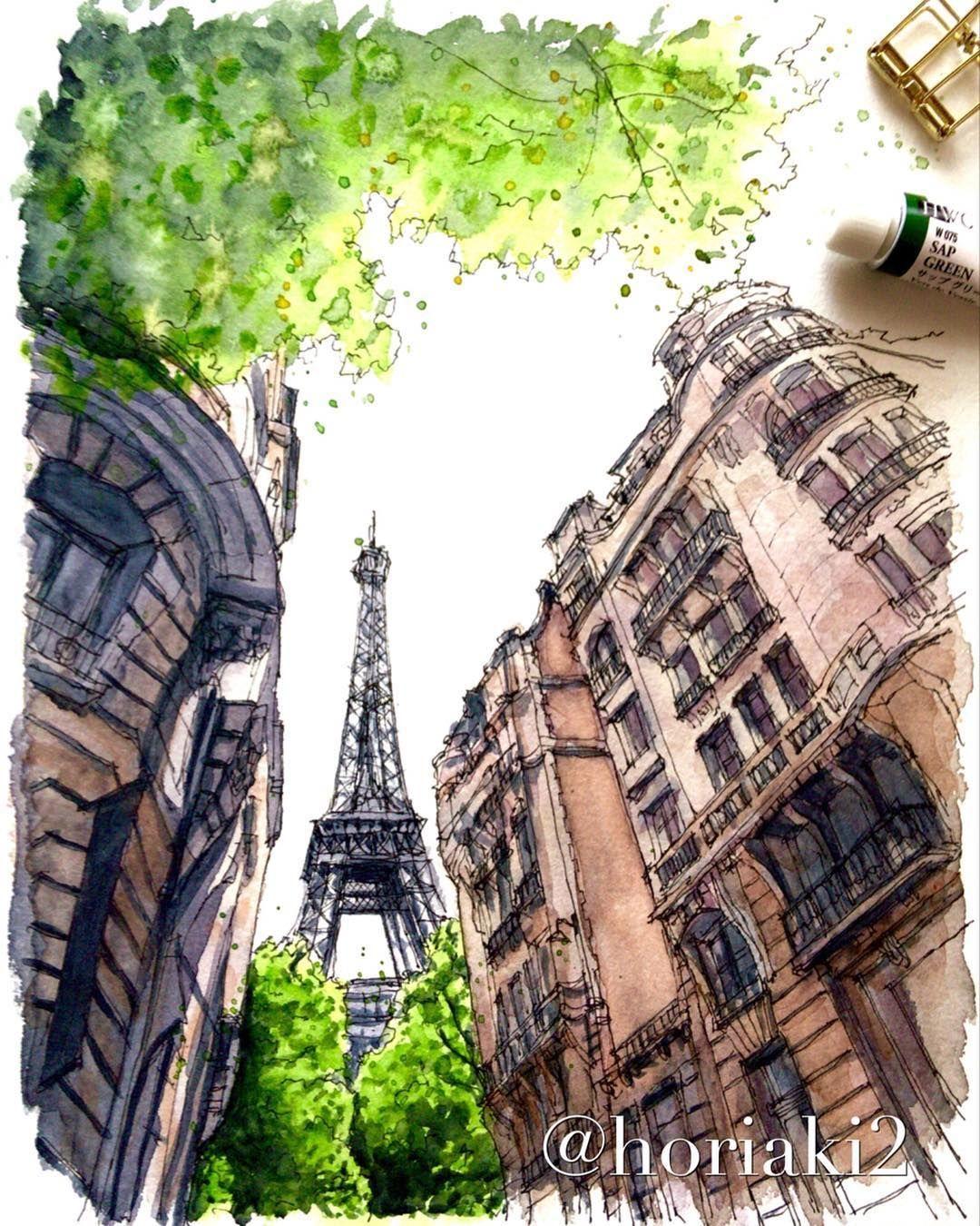 "Akihito Horigome on Instagram: ""パリ・エッフェル塔 — The Eiffel Tower , Paris ???????? #水彩画 #スケッチ #watercolor #watercolour #watercolorsketch #watercolorartist #watercolorpainting…"" #eiffeltower パリ・エッフェル塔 — The Eiffel Tower , Paris ???????? #水彩画 #スケッチ #watercolor #watercolour #watercolorsketch #watercolorartist #watercolorpainting…"