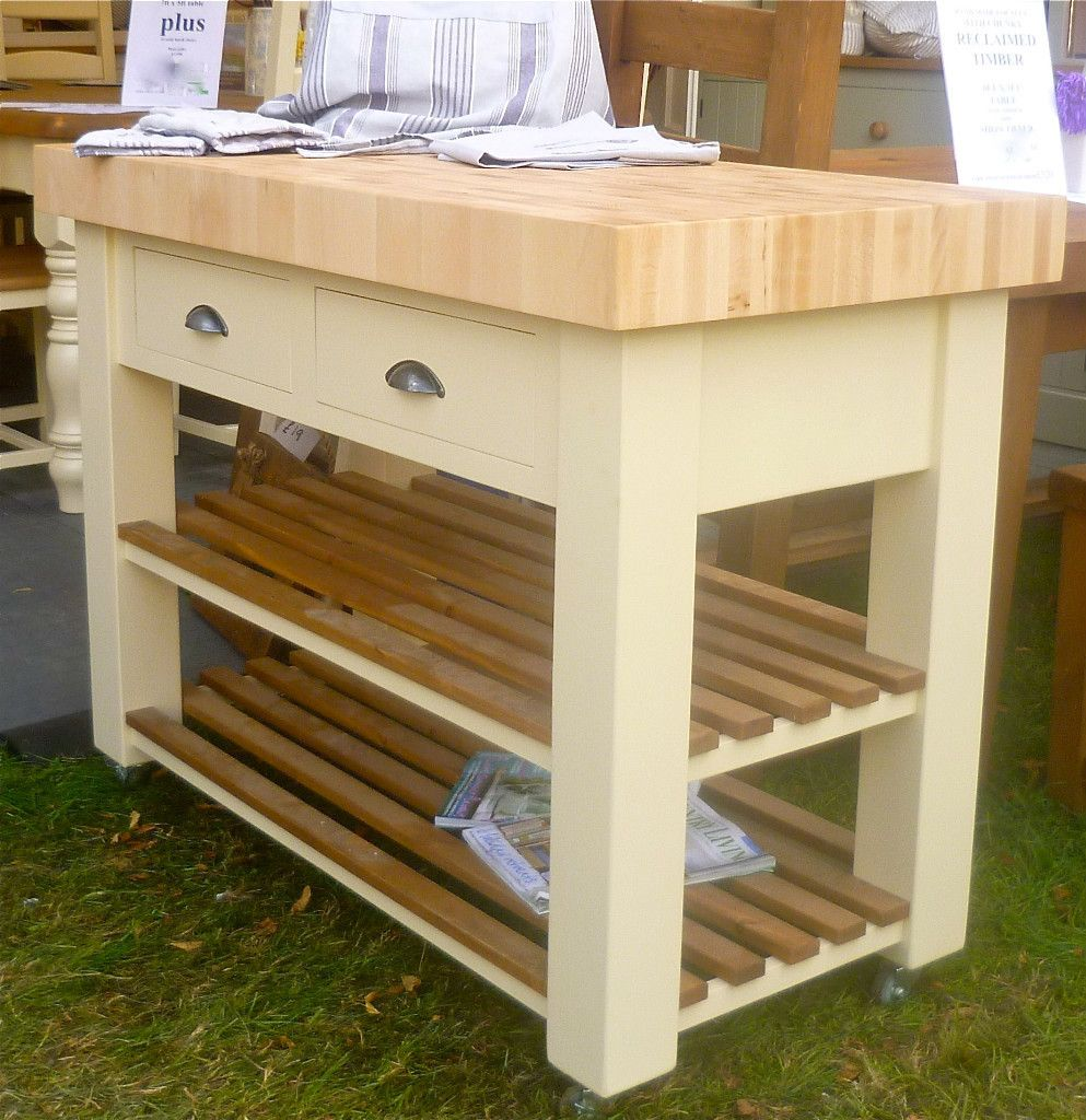 Details about Butchers Block (bloc) Island (trolly) beech and hand painted optional castors ...
