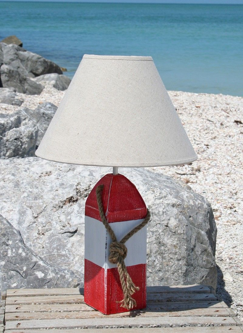 Red and White Striped Buoy Lamp Lighting Nautical