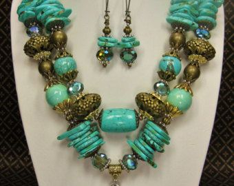 Long Necklace Set / Tribal Ethnic Necklace by CayaCowgirlCreations