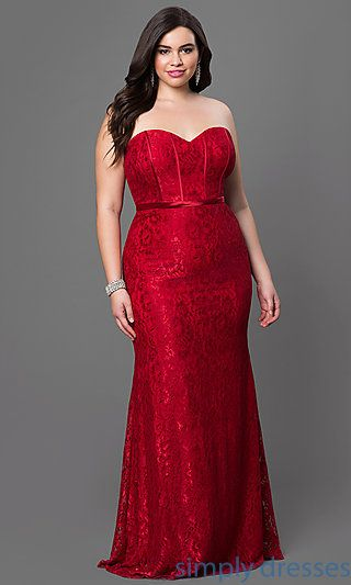 DQ-9062 - Long Formal Lace Evening Dress with Lace-Up Corset ...