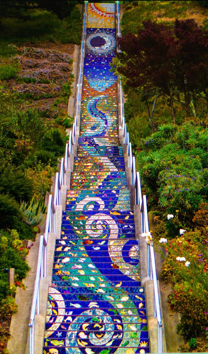 Places to visit in San Francisco. 6. Golden Gate Heights (16th Avenue) Mosaic Stairway and Grandview Park