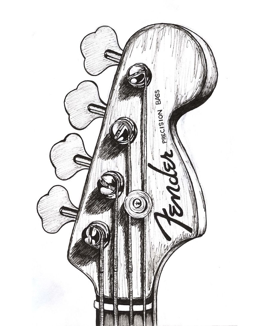 Fender precision bass drawing
