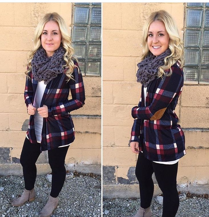 Plaid Print Elbow Patch Cardigan