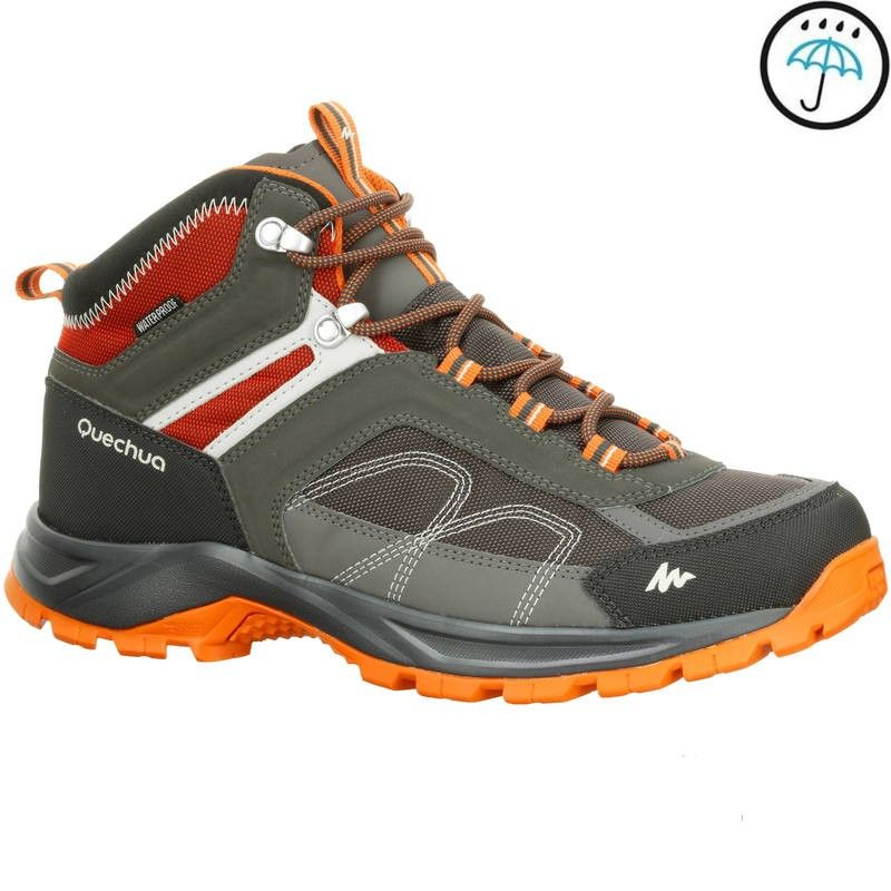 Mh100 Mid Men S Waterproof Hiking Shoes Grey Orange Mens Dance Shoes Womens Fashion Sneakers Sneakers Fashion