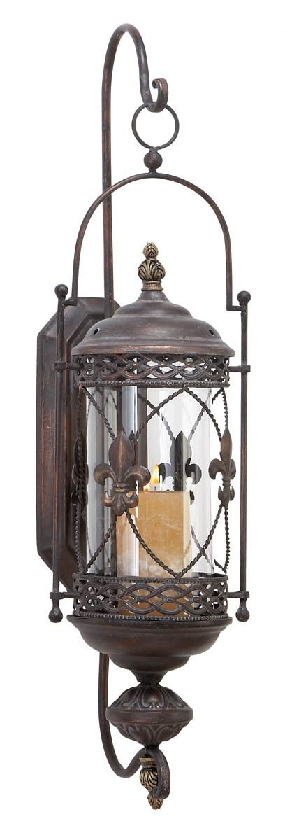 Aspire Fleur De Lis Candle Lantern Metal Wall Sconce