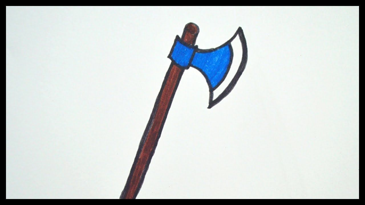 How To Draw An Axe Drawing And Coloring For Kids Axe Drawing