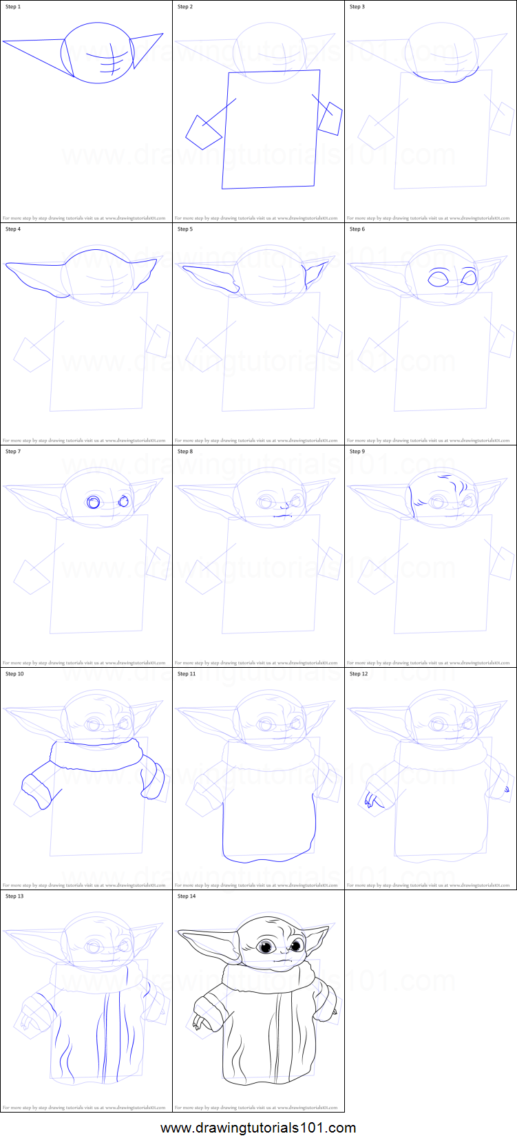 How To Draw A Baby Yoda Printable Step By Step Drawing Sheet Drawingtutorials101 Com Yoda Drawing Disney Drawing Tutorial Easy Disney Drawings