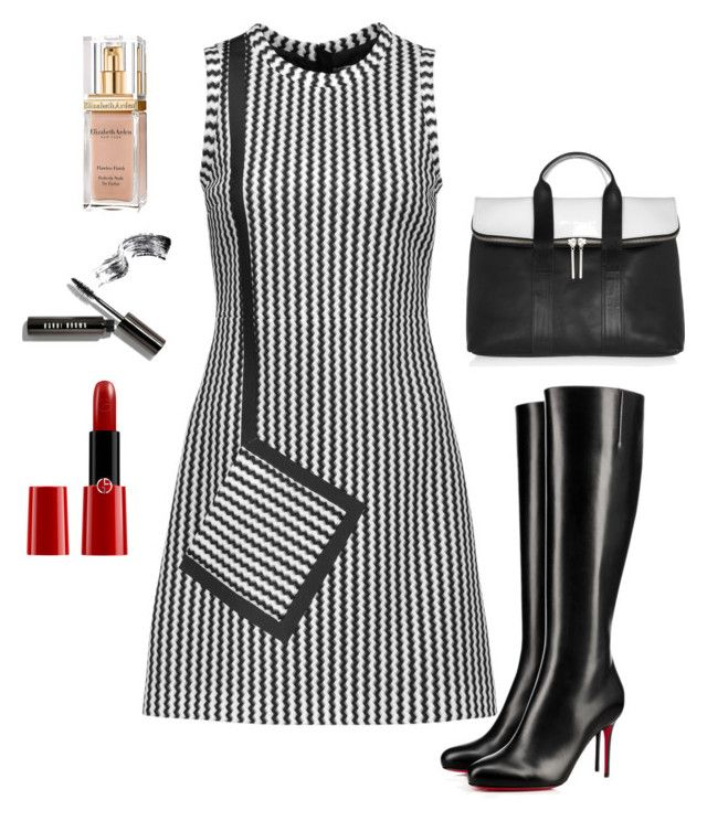 """""""Black and White"""" by sunshine24-7-1 ❤ liked on Polyvore featuring MSGM, Christian Louboutin, 3.1 Phillip Lim, Bobbi Brown Cosmetics, Giorgio Armani and Elizabeth Arden"""