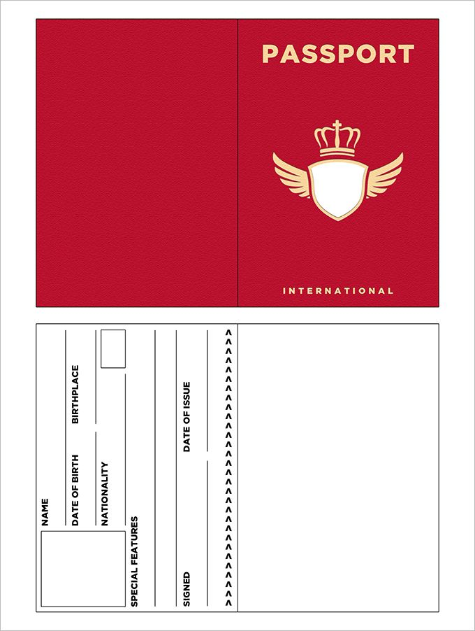10 passport templates free word pdf documents download for Printable passport template for kids