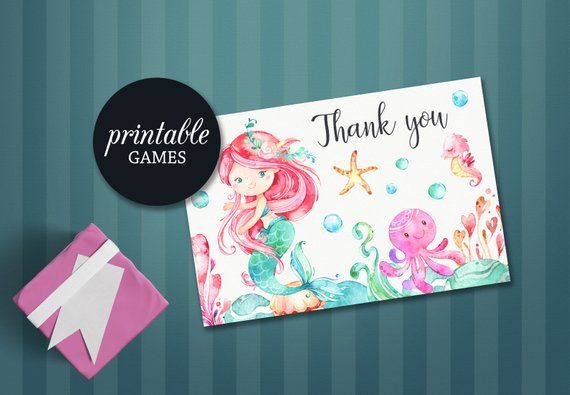 Mermaid Thank You Card Printable Baby Shower Thank You Card