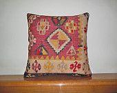 "20"" Large Tribal throw cushion cover rustic kilim pillow sham wool rug pillow floor pillow cover outdoor decorative pillowcase Turkish decor"