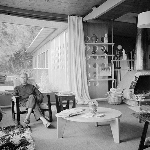 Jean Prouve In A Cite Lounge Chair In His Atelje In Nancy France C 1950 S Midcenturia Prouve Mid Century Interior Jean Prouve