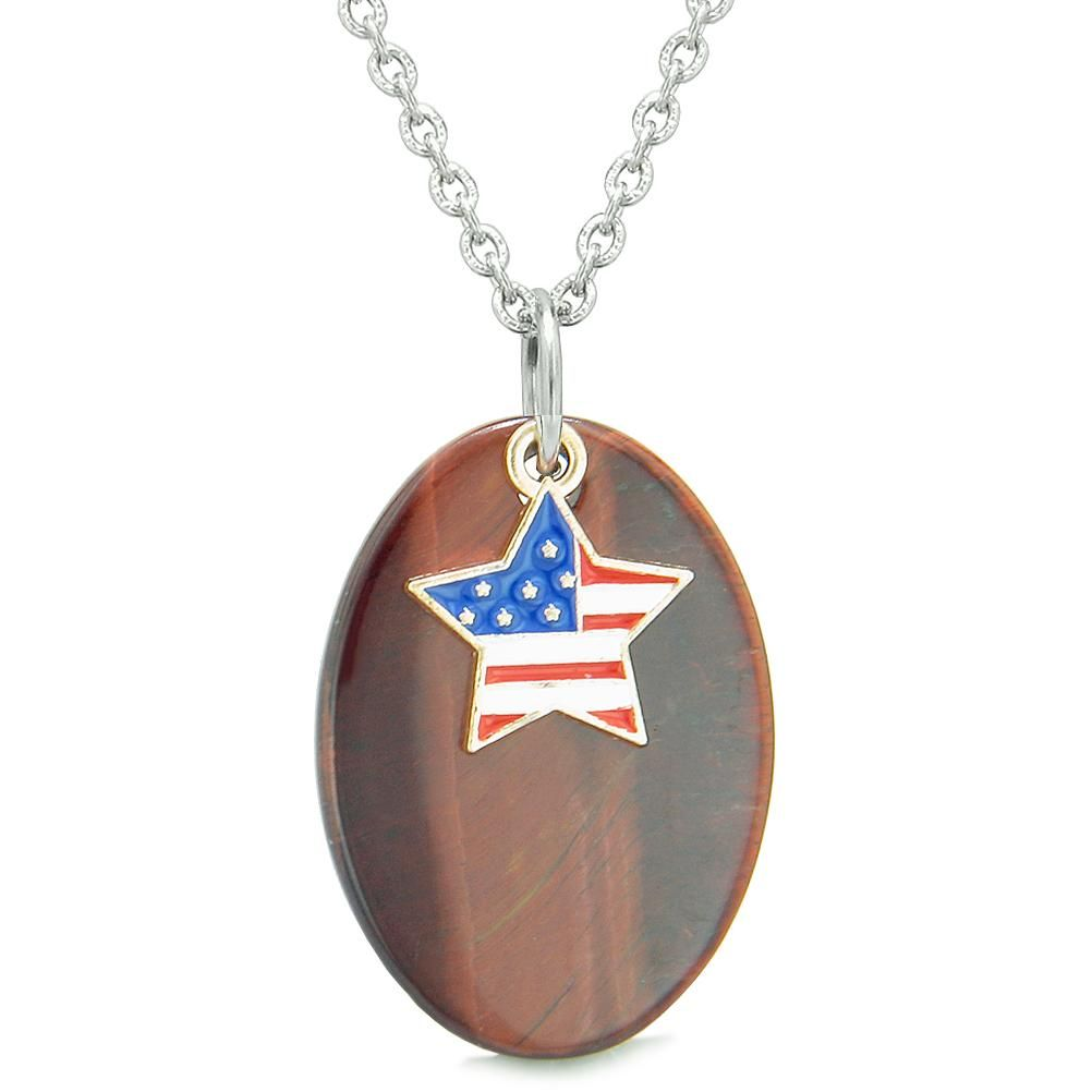 Proud American Flag Spirit Cute Super Star Lucky Charm Red Tiger Eye