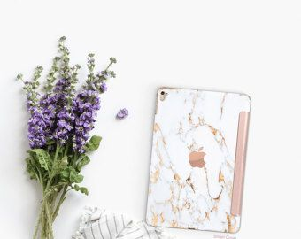 Marble Makrana White With Rose Gold Smart Cover Hard Case
