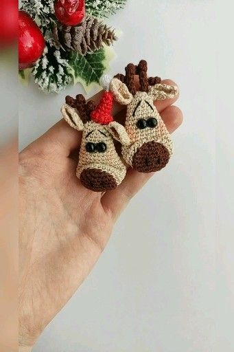 Christmas Deer head brooch crochet pattern, Deer Brooch pattern, Crochet brooch, Amigurumi Animal