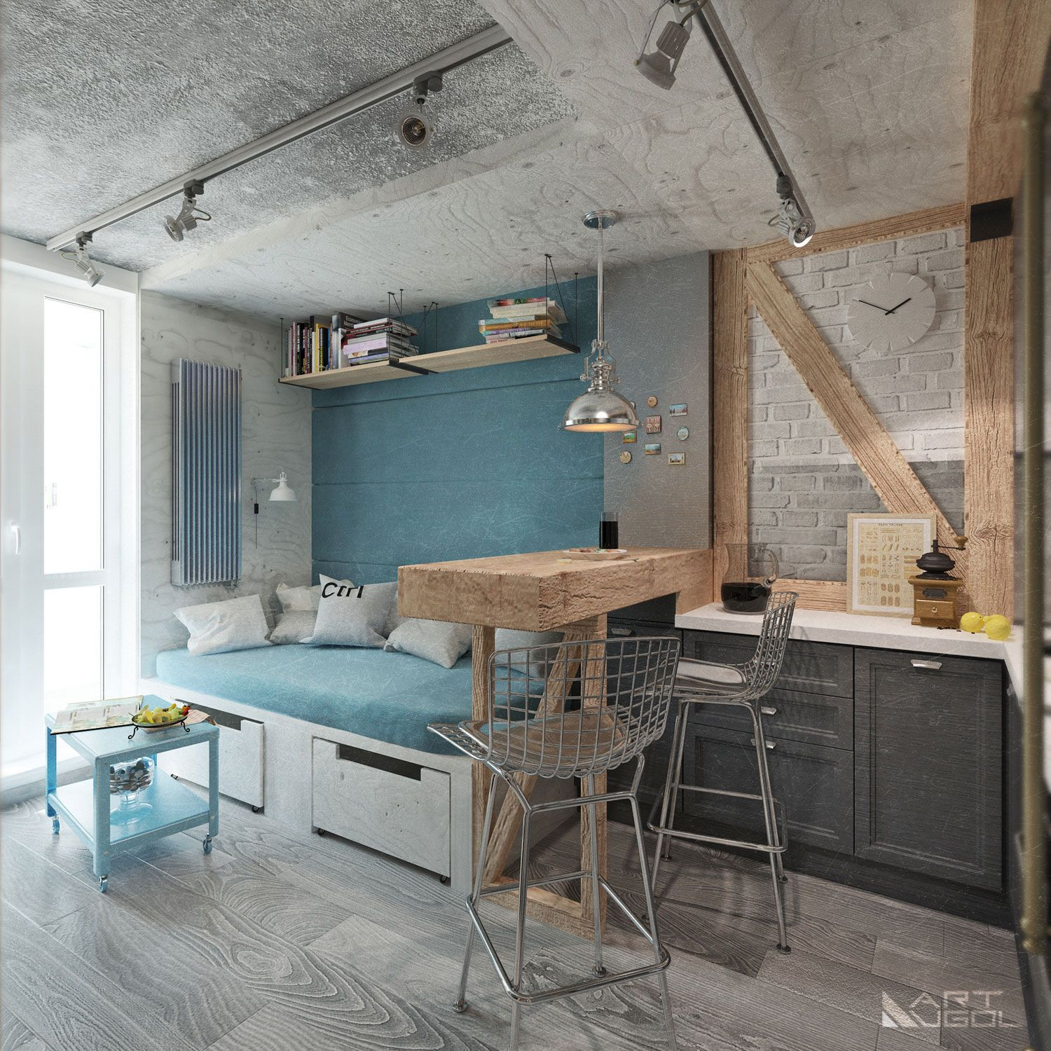 Open space industrial style Interior Pinterest