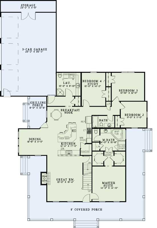 Main Floor Plan Awesome Floor Plan Just Need To Make Bedrooms A Little Wider Country Farmhouse House Plans Country Style House Plans House Plans Farmhouse