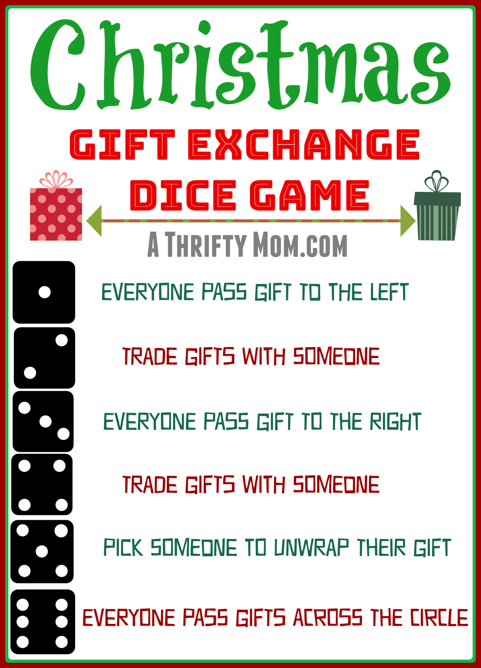 Christmas Gift Exchange Dice Game A Thrifty Mom Recipes Crafts Diy And More Christmas Gift Exchange Christmas Gift Games Holiday Gift Exchange