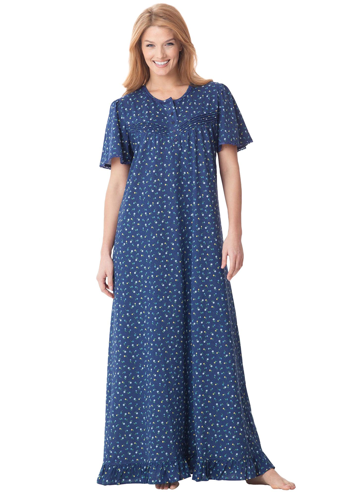 Long cotton knit gown by Dreams & Co® | Plus Size Sleepwear & Robes ...
