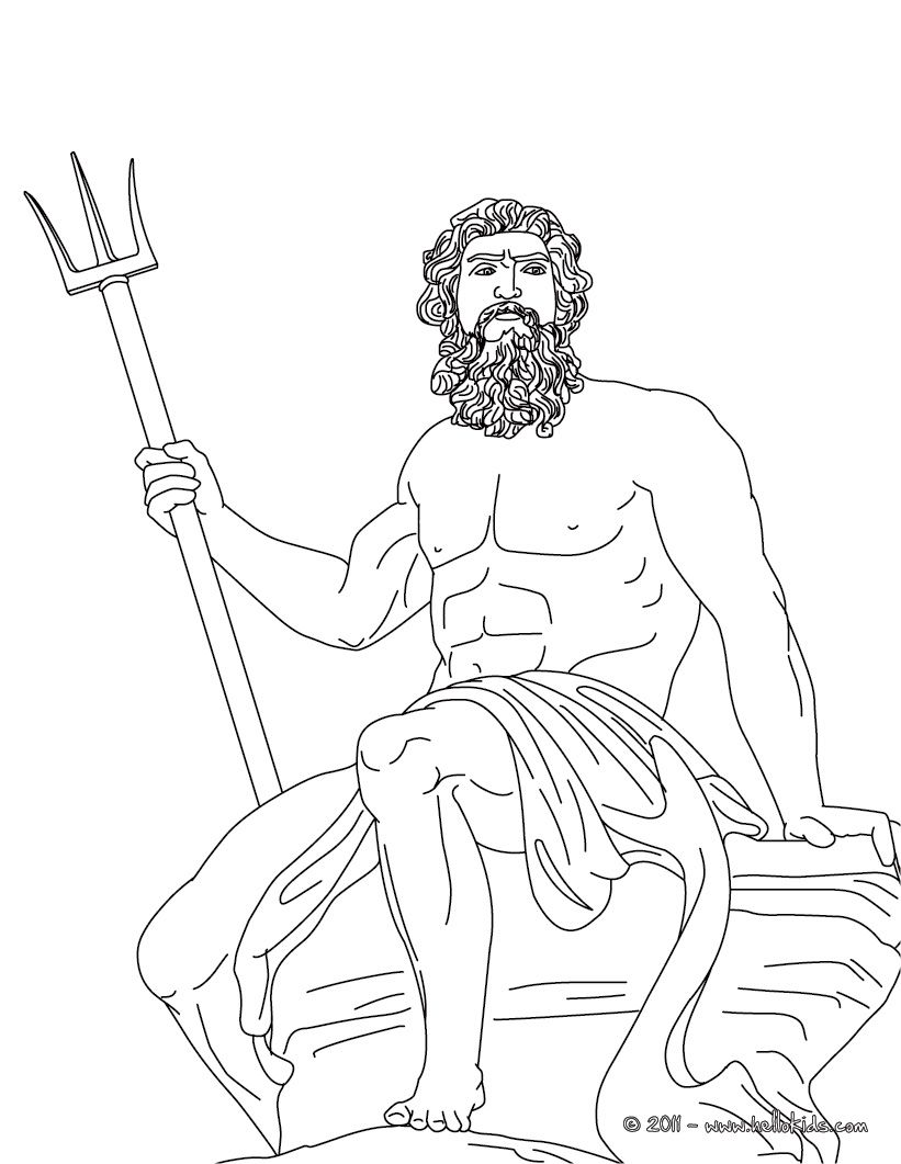 Poseidon The Greek God Of The Sea Coloring Page Mitologia