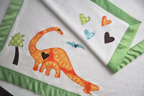 Organic Baby Blanket with Dinosaurs for Baby Boy in by bankiebaby, $65.00