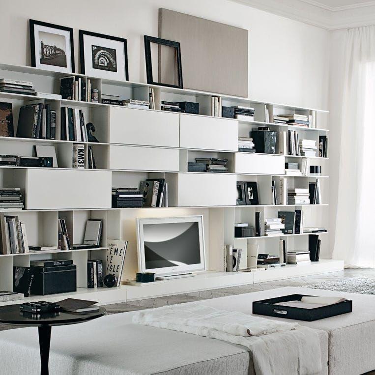 Parete attrezzata TV moderno / in legno laccato / in quercia / in ...
