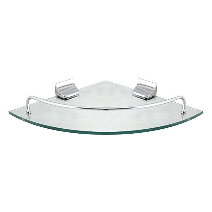 MODONA Corner Glass Shelf with Rail â\u20ac\u201c Polished Chrome â\u20ac\u201c 5 Year