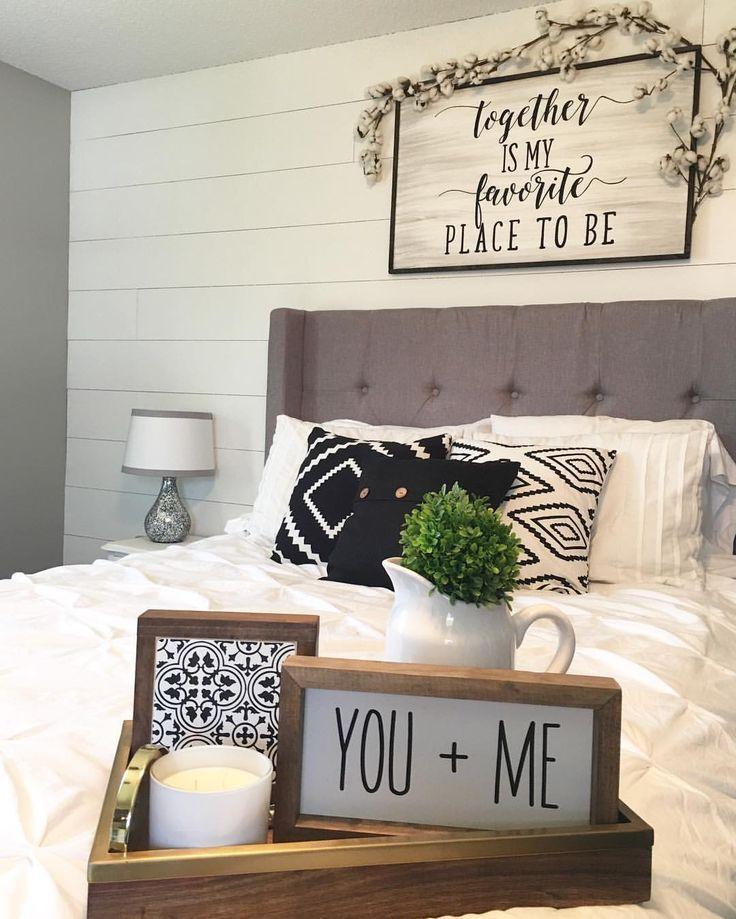 Master Bedroom Decor, Shiplap Wall, Black & White, Farmhouse Style, Farmhouse Decor, Modern