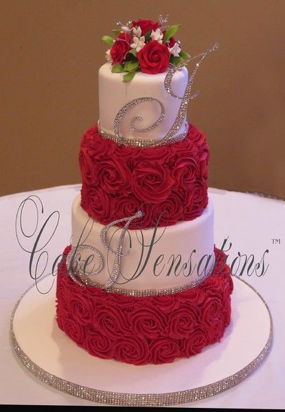 Red And Gold Buttercream Wedding Cake Google Search Wedding Cake
