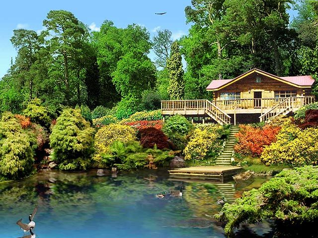 3d lake cabin screensaver free download