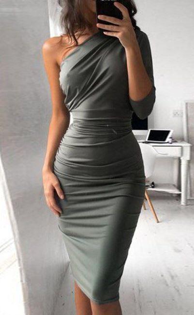ONE SHOULDER ASYMMETRICAL SHEATH DRESS | fashion | Dresses ...