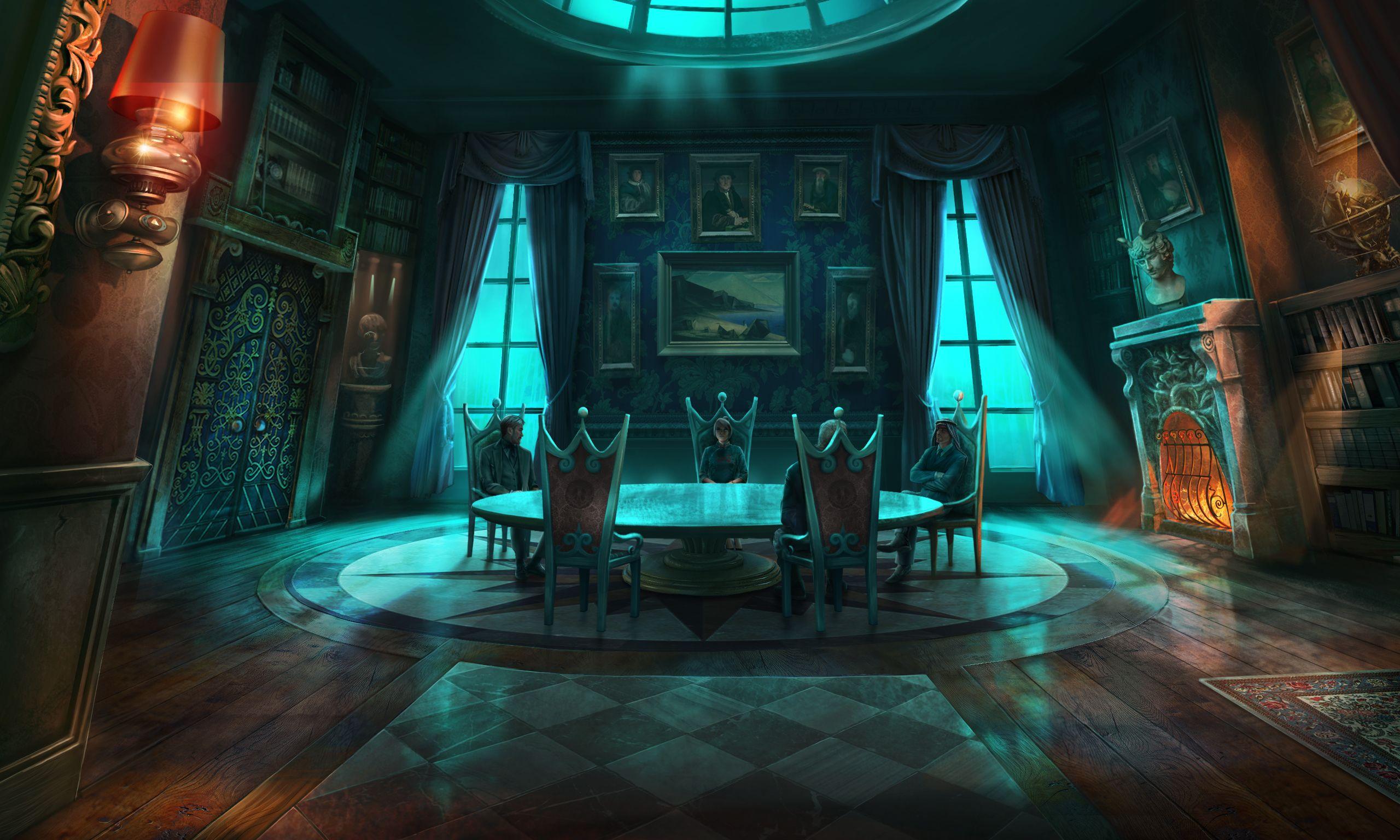 Dark Mansion Dining Room Fantasy Art Landscapes Anime Scenery