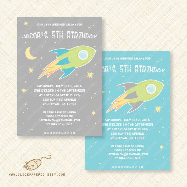 Outer Space Printable Party Birthday Invitation Card digital - download invitation card