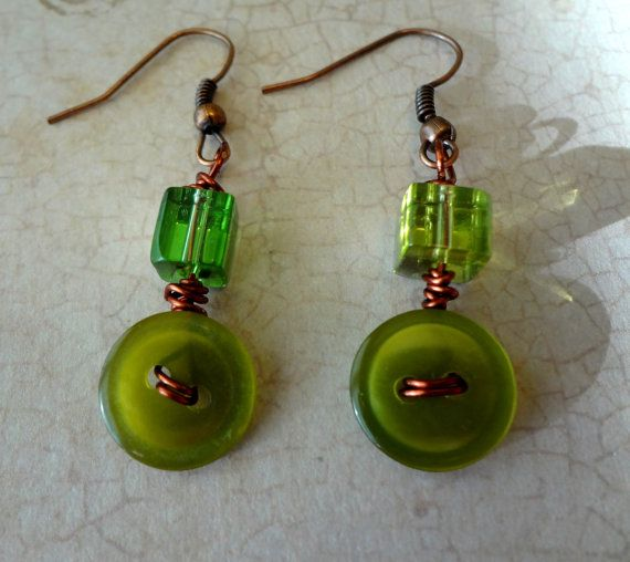 Olive Green and Copper Button Earrings by pendantparadise on Etsy