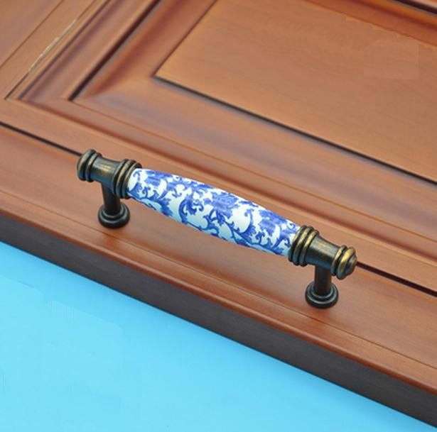 3.78/'/' 5/'/' Ceramic Drawer Pulls Door Handles Kitchen Cabinet Handles Dresser Knob Cupboard Handle Furniture Blue Antique Bronze