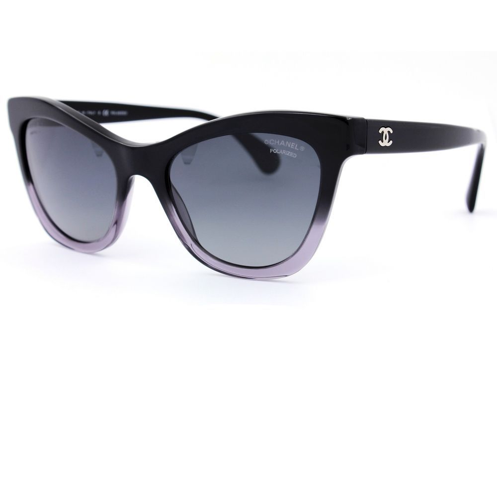 2c95f5797a3 Chanel Black Cat Eye Sunglasses Grey Polarized Gradient Lenses 5350  C1561 S8  CHANEL  CatEye