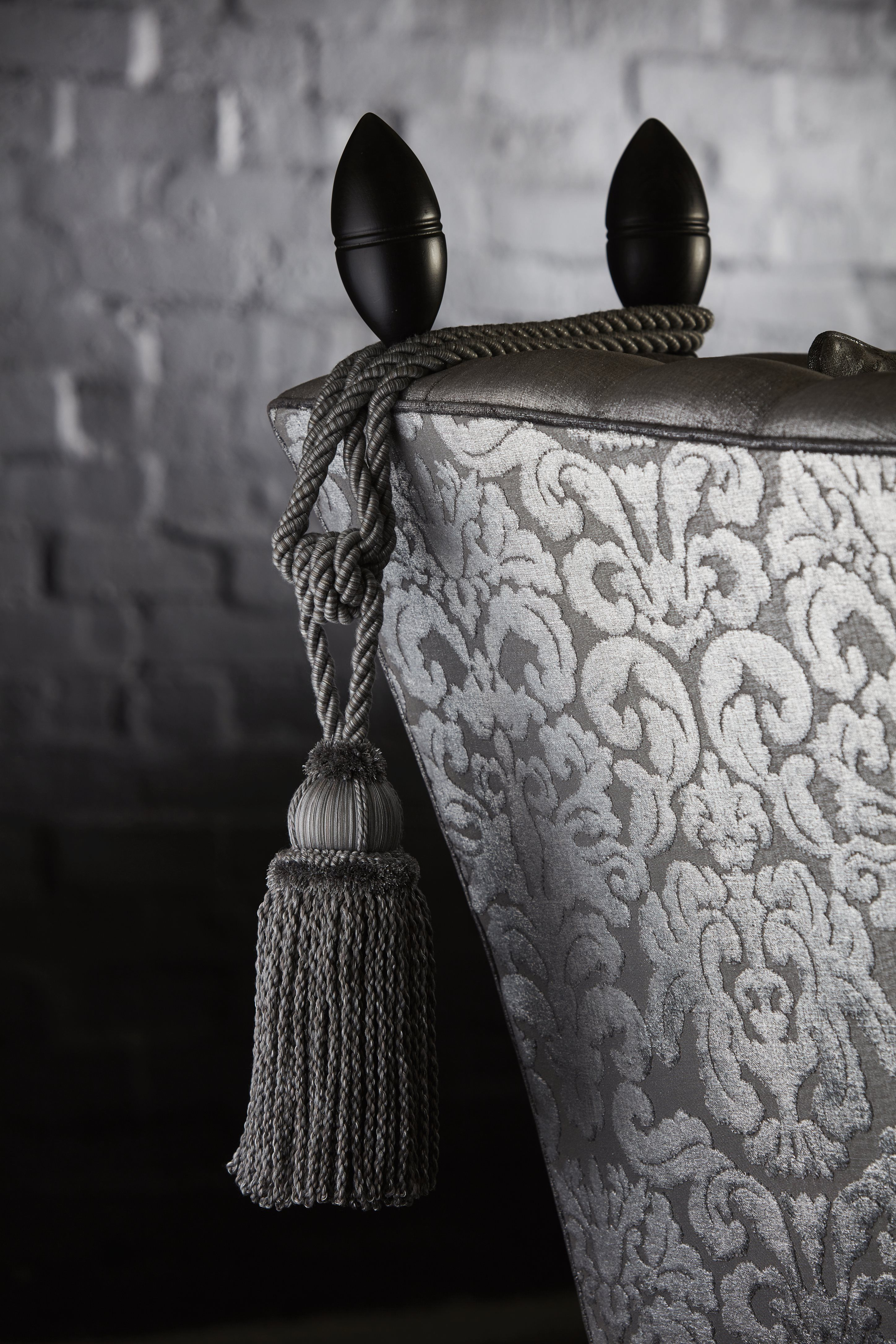 Stunning damask in silvery tones: Lucas Graphite by Warwick Fabrics - T2 collection