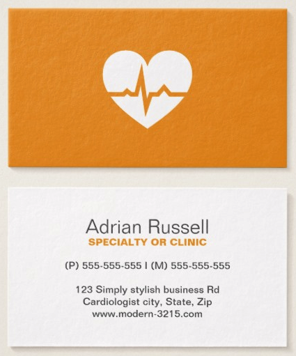 Medical doctor or healthcare business cards medical doctor modern medical doctor business cards featuring a white heart shape with a normal ecg wave on a yellow orange background stylish and contemporary physician colourmoves