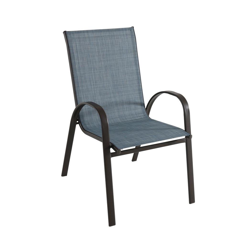 Hampton Bay Mix And Match Dark Brown Stackable Outdoor Dining Chair In Denim Sling Fcs00015j Lblue Outdoor Dining Chairs Outdoor Chairs Outdoor Rocking Chairs