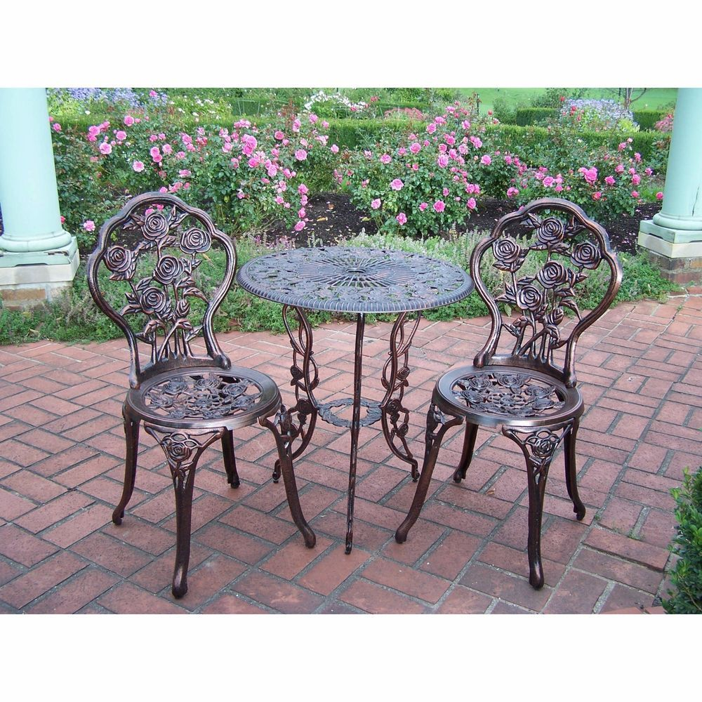 Wrought Iron Rose Patio Set Bistro Table And Chairs 3 Pieces Garden