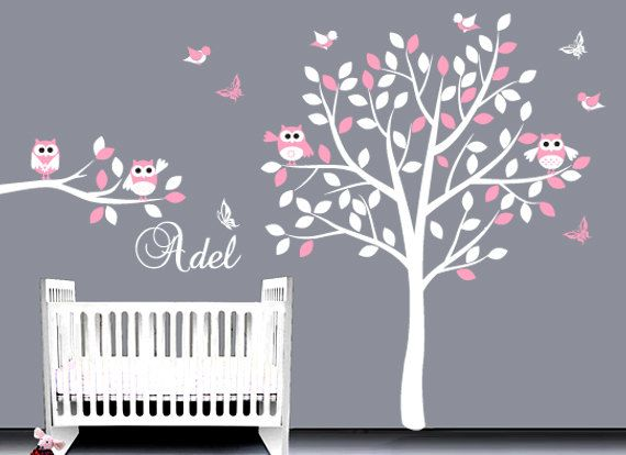 Baby Wall Decal Wall Sticker, Tree Owl Decal, Custom Name Decal, Bird Decal
